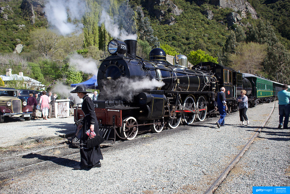 The Kingston Flyer vintage steam train, at Saturday's relaunch of the historic locomotives at Fairlight near Queenstown, Central Otago, New Zealand, 29th October 2011. Photo Tim Clayton...