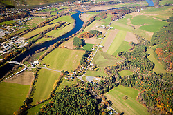 The Connecticut River as it flows between Bradford, Vermont and Piermont, New Hampshrie. Aerial.