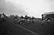 Rugby International, Ireland v Wales, Lansdowne Road, Dublin..<br /> Irish forwards, M.D. Kiely and C.J.Dick, lead the Irish players to the rescue of scrum-half, J.C. Kelly, bare-backed on the ground.<br /> 17.11.1962