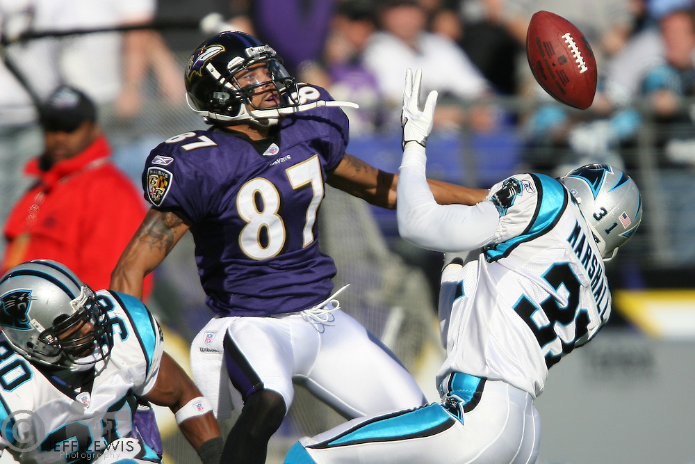 15 October 2006:  Carolina Panthers Richard Marshall breaks up a pass to Baltimore Ravens wide receiver Demetrius Williams during the second half as the Panthers win 23-21 at M &amp; T Bank Stadium in Baltimore, MD.<br />