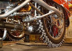 07.03.2015, Assen, NLD, FIM Eisspeedway Gladiators, im Bild Das Hinterad eines Eisspeedway Motorrad mit den Spiks // during FIM Eisspeedway Gladiators at Assen, Netherlands on 2015/03/07. EXPA Pictures © 2015, PhotoCredit: EXPA/ Eibner-Pressefoto/ Stiefel<br /> <br /> *****ATTENTION - OUT of GER*****