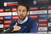 Gareth Southgate speaking to press during the U21 England Press Conference ahead of the U21 Championship match against Switzerland at  at the American Express Elite Football Performance Centre, Brighton and Hove, England on 5 November 2015.