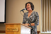 Leipzig University President Beate A. Schücking speaks during the memorandum reception. Schücking  and Ohio University President McDavis renewed a Memorandum of Understanding between LU and Ohio University in the Multicultural Center's multipurpose room in Baker Center on Monday, September 24, 2012..Photo by Chris Franz