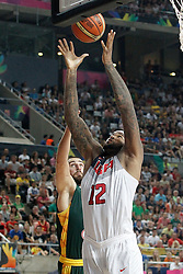 11.09.2014, City Arena, Barcelona, ESP, FIBA WM, USA vs Litauen, Halbfinale, im Bild USA's DeMarcus Cousins (r) and Lithuania's Jonas Valanciunas // during FIBA Basketball World Cup Spain 2014 semi-final match between United States and Lithuania at the City Arena in Barcelona, Spain on 2014/09/11. EXPA Pictures © 2014, PhotoCredit: EXPA/ Alterphotos/ Acero<br /> <br /> *****ATTENTION - OUT of ESP, SUI*****