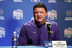 Head Coach Ed Orgeron of the LSU Tigers speaks with the media at Media Day on Thursday, Dec. 26, in Atlanta. LSU will face Oklahoma in the 2019 College Football Playoff Semifinal at the Chick-fil-A Peach Bowl. (Paul Abell via Abell Images for the Chick-fil-A Peach Bowl)