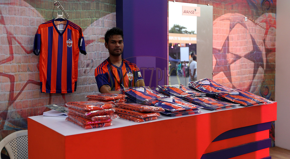 merchandise stall  during match 33 of the Indian Super League (ISL) season 2  between FC Pune City and FC Goa held at the Shree Shiv Chhatrapati Sports Complex Stadium, Pune, India on the 8th November 2015.<br /> <br /> Photo by Sandeep Shetty / ISL/ SPORTZPICS