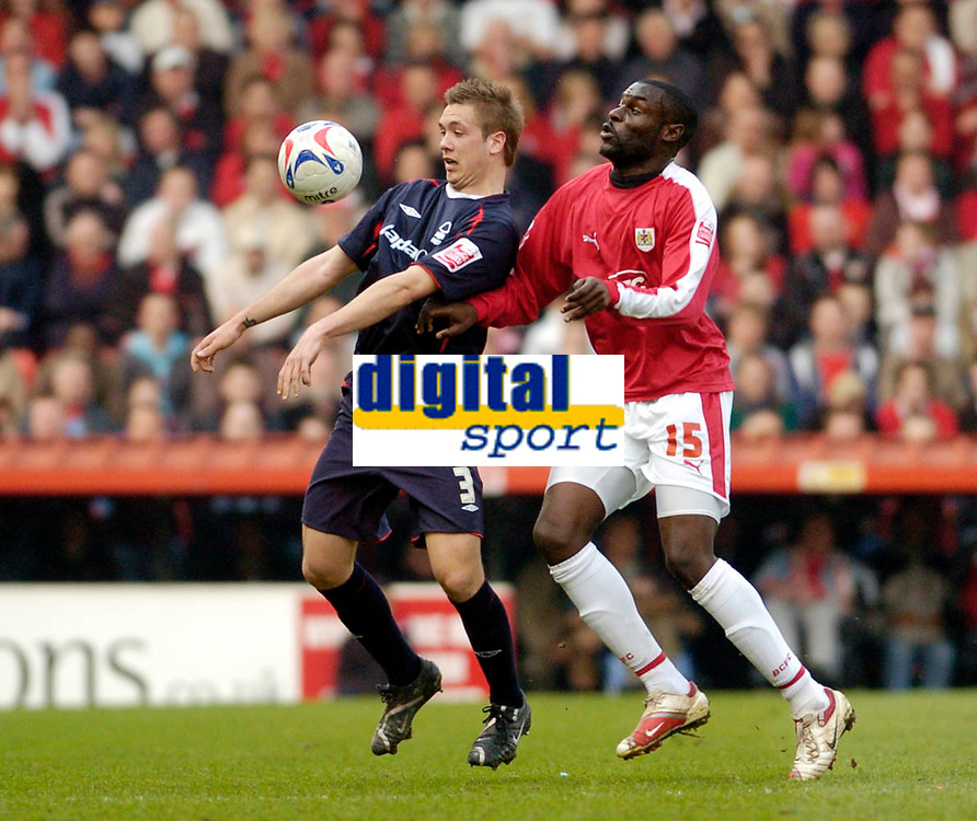 Photo: Leigh Quinnell.<br /> Bristol City v Nottingham Forest. Coca Cola League 1. 31/03/2007. Forests Luke Chambers brings the ball down watched by Bristol Citys Enoch Showunmi.