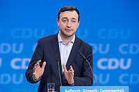 26 FEB 2018, BERLIN/GERMANY:<br /> Paul Ziemiak, CDU, Bundesvorsitzender Junge Union, CDU Bundesparteitag, Station Berlin<br /> IMAGE: 20180226-01-096<br /> KEYWORDS: Party Congress, Parteitag