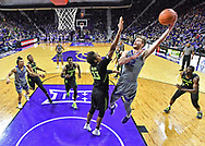 MANHATTAN, KS - MARCH 02:  Dean Wade #32 of the Kansas State Wildcats scores a basket over Freddie Gillespie #33 of the Baylor Bears during the second half on March 2, 2019 at Bramlage Coliseum in Manhattan, Kansas.  (Photo by Peter G. Aiken/Getty Images) *** Local Caption *** Dean Wade;Freddie Gillespie