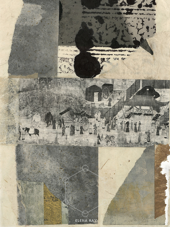 """    Elena Ray Abstract collage with asian elements. Patchwork mixed medium collages with asian and abstract elements. Doko means """"where"""" in Japanese."""