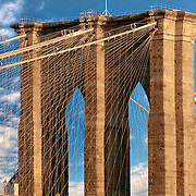 The Brooklyn Bridge connects Manhattan with Brooklyn, New York.