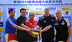 24-08-2010 VOLLEYBAL: WGP PRESS CONFERENCE AND TECHNICAL MEETING: BEILUN NINGBO<br /> Headcoaches Baoquan Wang CHN, Masayoshi Manabe JAP, Jerzy Matlak POL, Hugh McCutcheon USA and Massimo Barbolini ITA<br /> ©2010-WWW.FOTOHOOGENDOORN.NL