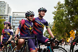 Jessica Pratt (AUS) gets a hug from Hannah Ludwig (GER) during Stage 4 of 2020 Santos Women's Tour Down Under, a 42.5 km road race in Adelaide, Australia on January 19, 2020. Photo by Sean Robinson/velofocus.com