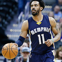 01 February 2016: Memphis Grizzlies guard Mike Conley (11) brings the ball up court during the Memphis Grizzlies 119-99 victory over the Denver Nuggets, at the Pepsi Center, Denver, Colorado, USA.