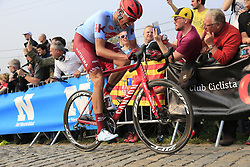 Nils Politt (GER) Team Katusha Alpecin climbs the Paterberg for the last time during the 2019 Ronde Van Vlaanderen 270km from Antwerp to Oudenaarde, Belgium. 7th April 2019.<br /> Picture: Eoin Clarke | Cyclefile<br /> <br /> All photos usage must carry mandatory copyright credit (© Cyclefile | Eoin Clarke)