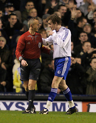 Liverpool, England - Wednesday, December 5, 2007: Zenit St. Petersburg's Nicolas Lombaerts is sent off by referee Kristinn Jakobsson during the UEFA Cup Group A match against Everton at Goodison Park. (Photo by David Rawcliffe/Propaganda)