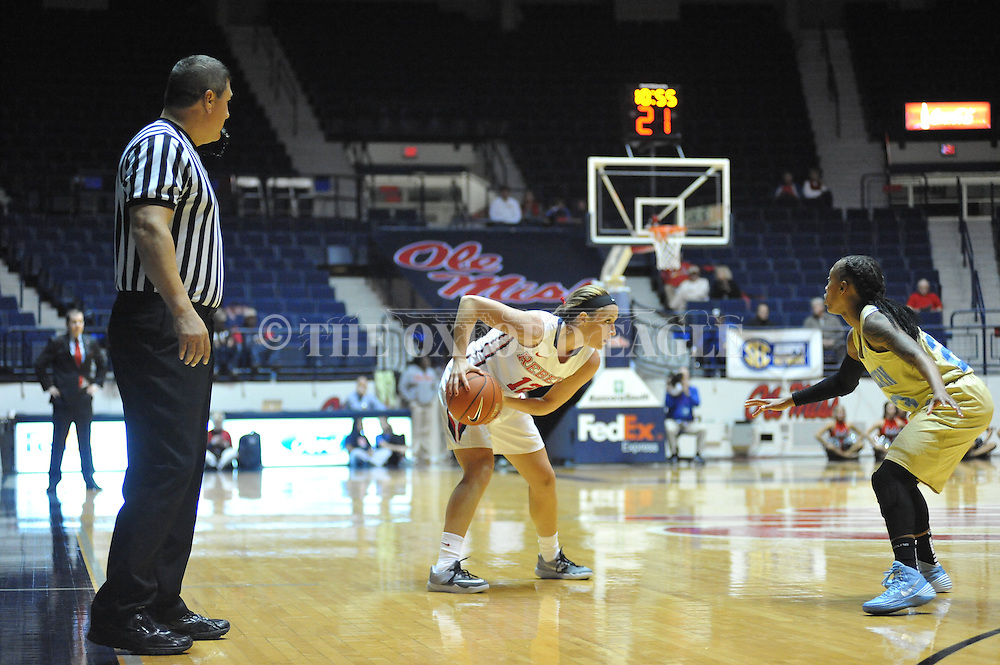 """Ole Miss guard Gracie Frizzell (12) vs. Southern at the C.M. """"Tad"""" Smith Coliseum in Oxford, Miss. on Thursday, November 20, 2014. (AP Photo/Oxford Eagle, Bruce Newman)"""