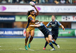Thretton Palamo of Bristol Rugby is tackled by Blaine Scully of Cardiff Blues - Rogan Thomson/JMP - 21/01/2017 - RUGBY UNION - Cardiff Arms Park - Cardiff, Wales - Cardiff Blues v Bristol Rugby - EPCR Challenge Cup.