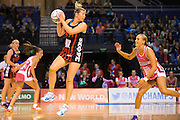 Anna Thompson collects the ball for the Tactix during the ANZ Championship Netball game between the Mainland Tactix v Adelaide Thunderbirds at Horncastle Arena in Christchurch. 20th April 2015 Photo: Joseph Johnson/www.photosport.co.nz