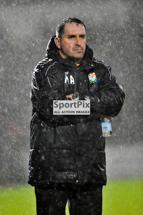 A downhearted wet Martin Allen on the Final whistle as his side go down 3-0 at Northampton, Northampton Town v Barnet FC, Sixfields Stadium, Sky Bet League Two, Saturday 2nd January 2016