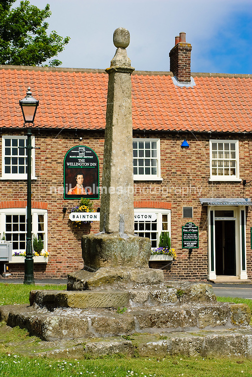 Lund Village, East Yorkshire. On the Green stands the old market cross, and at the edge of the green is the village pub The Wellington Inn.