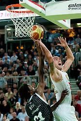 Damir Markota of Union Olimpija vs James Gist of Partizan during final match of Basketball NLB League at Final Four tournament between KK Union Olimpija (SLO) and Partizan Belgrade (SRB), on April 21, 2011 at SRC Stozice, Ljubljana, Slovenia. (Photo By Matic Klansek Velej / Sportida.com)