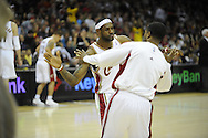 LeBron James, left, and Damon Jones go through their pre game warmup ritual..The Miami Heat lost to the host Cleveland Cavaliers 84-76 at Quicken Loans Arena, April 13, 2008..