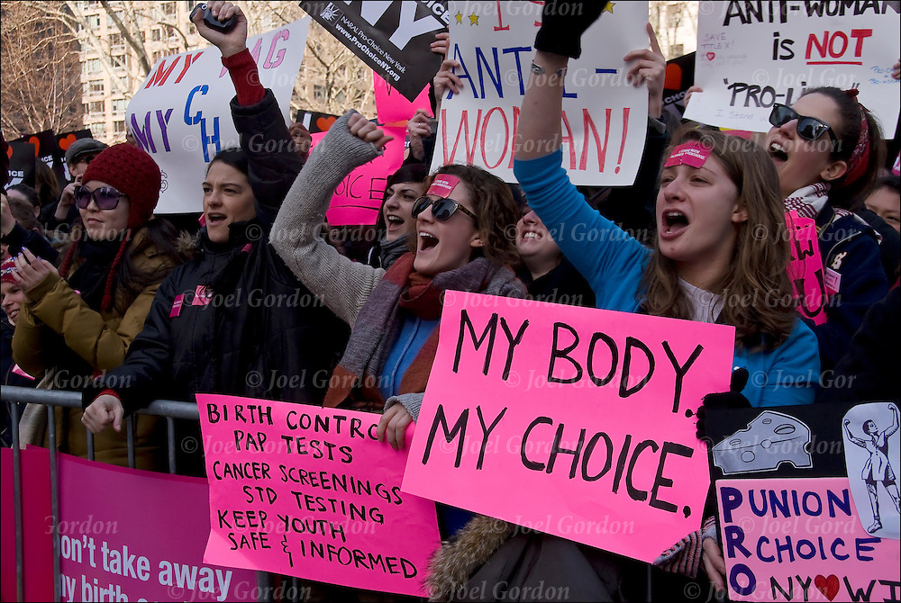 Rally to stand up for woman's rights against passage of anti-choice legislation in the House of Representatives, which if made into law, would eliminate basic health care and education services to millions of Americans.
