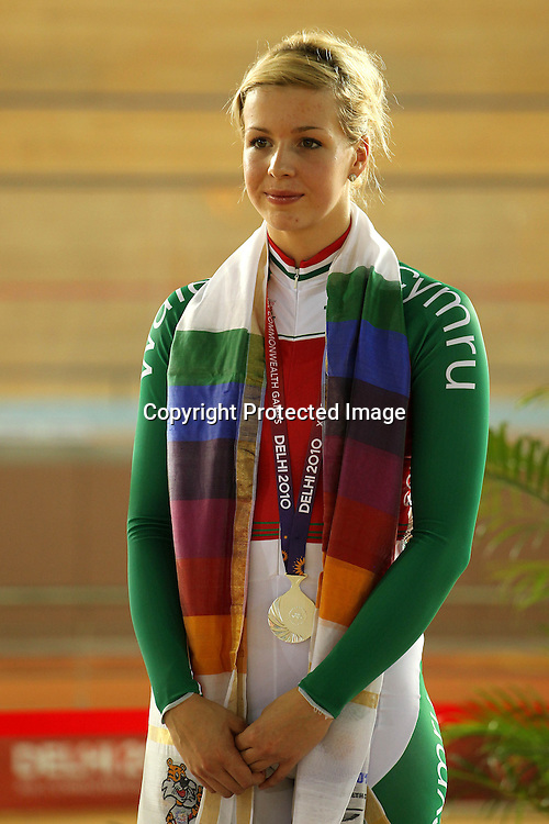 Becky Jones of Wales wins silver during the women's sprint final held at the velodrome at the Indira Gandhi Sports Complex in New Delhi, India on the 7 October 2010<br /> <br /> Photo by:  Ron Gaunt/SPORTZPICS/PHOTOSPORT