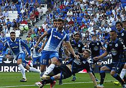 September 24, 2017 - Barcelona, Catalonia, Spain - Leo Baptistao and Luisinho during La Liga match between RCD Espanyol v Real Club Deportivo de La Coruna , in Barcelona, on September 24, 2017. (Credit Image: © Joan Valls/NurPhoto via ZUMA Press)