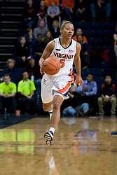 Virginia guard Sharnee Zoll (5) dribbles up court against Maryland.  The Virginia Cavaliers women's basketball team fell to the #4 ranked Maryland Terrapins 74-62 at the John Paul Jones Arena in Charlottesville, VA on January 18, 2008.