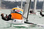 Thilo Keller (GER7) rounds the top mark in race seven of the A Class World championships regatta being sailed at Takapuna in Auckland. 15/2/2014