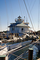 St. Michaels, Maryland--Hoopers Straight Lighthouse is one of three surviving Chesapeake Bay screw-pile lighthouses. The light once lit the way through the tricky waters of Hooper Strait a thoroughfare for traffic bound from the Bay across Tangier Sound, it is now on display at the Chesapeake Bay Maritime Museum.