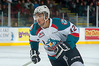 KELOWNA, CANADA - JANUARY 24: Tyrell Goulbourne #12 of Kelowna Rockets skates against the Everett Silvertips on January 24, 2015 at Prospera Place in Kelowna, British Columbia, Canada.  (Photo by Marissa Baecker/Shoot the Breeze)  *** Local Caption *** Tyrell Goulbourne;