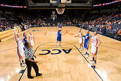 Morehead St. forward Brandi Rayburn (40) hits a free throw against UVA.  The Virginia Cavaliers women's basketball team defeated the Morehead State Eagles 88-43 at the John Paul Jones Arena in Charlottesville, VA on February 4, 2008.