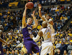 Feb 12, 2018; Morgantown, WV, USA; TCU Horned Frogs forward Vladimir Brodziansky (10) shoots in the lane during the first half against the West Virginia Mountaineers at WVU Coliseum. Mandatory Credit: Ben Queen-USA TODAY Sports
