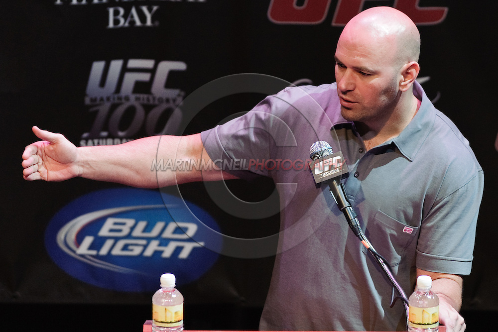 LAS VEGAS, NEVADA, JULY 9, 2009: UFC president Dana White is pictured during the pre-fight press conference for UFC 100 inside the House of Blues in Las Vegas, Nevada