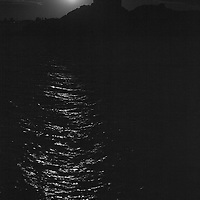 South America, Peru, Laka Titicaca. Full moon over Lake Titicaca.
