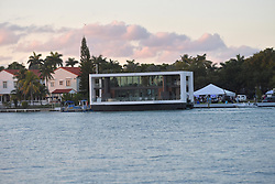 MIAMI BEACH, FL - FEBRUARY 17: Miami-based Arkup LLC is at the Miami Yacht Show from Feb. 15 to 18 displaying this $5.9 million, solar-powered, hurricane-resistant floating home. The off-grid ''livable yacht'' can be piloted along coastlines or put down its hydraulic pilings to be as stable as a home on land, on February 17, 2019 in Miami Beach, Florida.  ..People:  Yacht House. (Credit Image: © SMG via ZUMA Wire)
