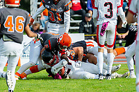 KELOWNA, BC - OCTOBER 6: Garrett Cape #2 and Ryley Amendt #53 of Okanagan Sun tackle Andrew Goulbourne #21 of the VI Raiders at the Apple Bowl on October 6, 2019 in Kelowna, Canada. (Photo by Marissa Baecker/Shoot the Breeze)