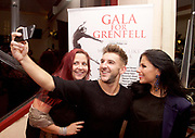 Gala for Grenfell<br /> imagined &amp; directed by Arlene Phillips <br /> at the Adelphi Theatre, London, Great Britain <br /> 30th July 2017 <br /> <br /> <br /> selfie with the banner <br /> <br /> Photograph by Elliott Franks <br /> Image licensed to Elliott Franks Photography Services