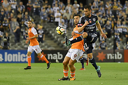 November 11, 2017 - Melbourne, Victoria, Australia - CARL VALERI (21) of the Victory kicks the ball in the round six match of the A-League between Melbourne Victory and Brisbane Roar at Etihad Stadium, Melbourne, Australia. Melbourne drew 1-1 (Credit Image: © Sydney Low via ZUMA Wire)