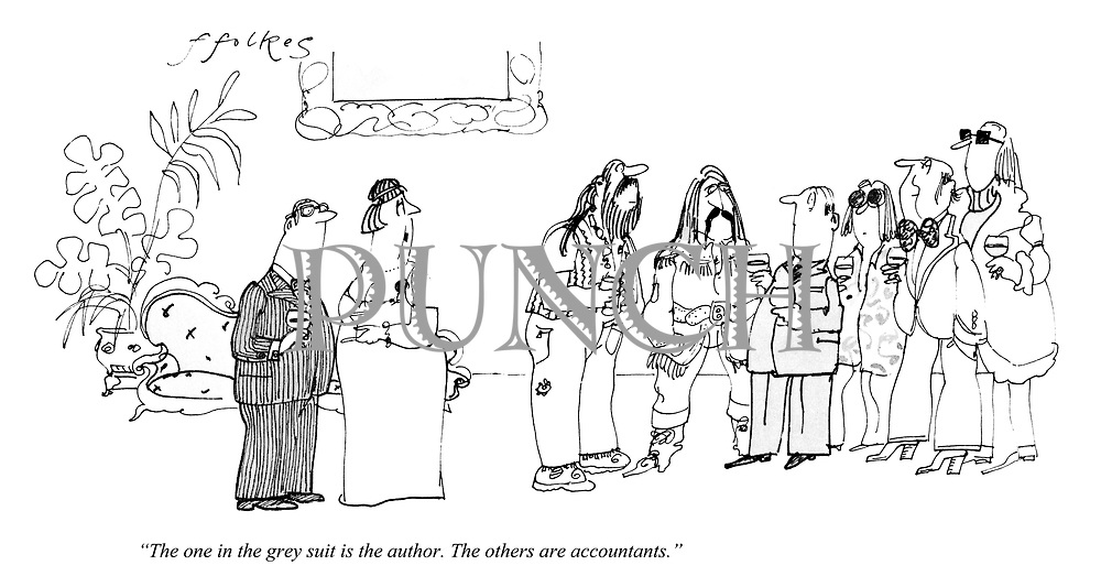 """The one in the grey suit is the author. The others are accountants."""