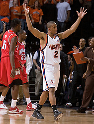 Virginia's J.R. Reynolds (2) fires up the home crowd in action against Maryland.  The Cavaliers defeated the #22 ranked Terrapins 103-91 at the John Paul Jones Arena in Charlottesville, VA on January 16, 2007.