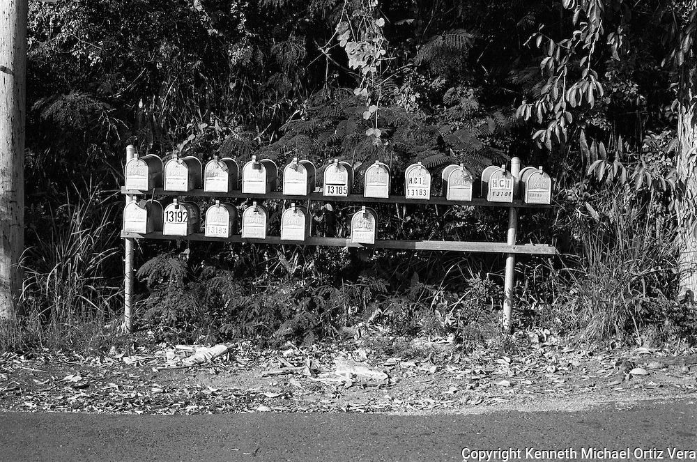 Mailboxes on a country road in Aguadilla Puerto Rico.