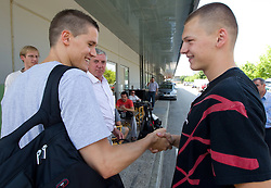 Jaka Lakovic, Iztok Rems and Jaka Klobucar of Slovenia Basketball national team at departure to Rogla before World Championship in Turkey, on July 10, 2010 at KZS, Ljubljana, Slovenia. (Photo by Vid Ponikvar / Sportida)