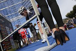 March 10, 2017 - Montalto Di Castro, ITALY - Illustration picture shows a podium girl in high heels during the third stage of the 51st edition of the Tirreno-Adriatico cycling race,204 km from Monterotondo Marittimo to Montalto di Castro, Italy, Friday 10 March 2017. ..BELGA PHOTO YUZURU SUNADA (Credit Image: © Yuzuru Sunada/Belga via ZUMA Press)