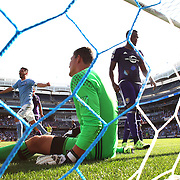 NEW YORK, NEW YORK - May 29:  David Villa #7 of New York City FC celebrates as goalkeeper Joseph Bendik #1 of Orlando City FC can't stop Frederic Brillant #13 of New York City FC header for NYCFC's first half goal during the New York City FC Vs Orlando City, MSL regular season football match at Yankee Stadium, The Bronx, May 29, 2016 in New York City. (Photo by Tim Clayton/Corbis via Getty Images)