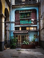 HAVANA, CUBA - CIRCA MAY 2016: Old building in Havana. Entrance to a typical old building in Havana.