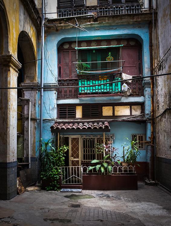 HAVANA, CUBA - CIRCA MAY 2016: Old building in Havana. Entrance to a typical old building in Havana.